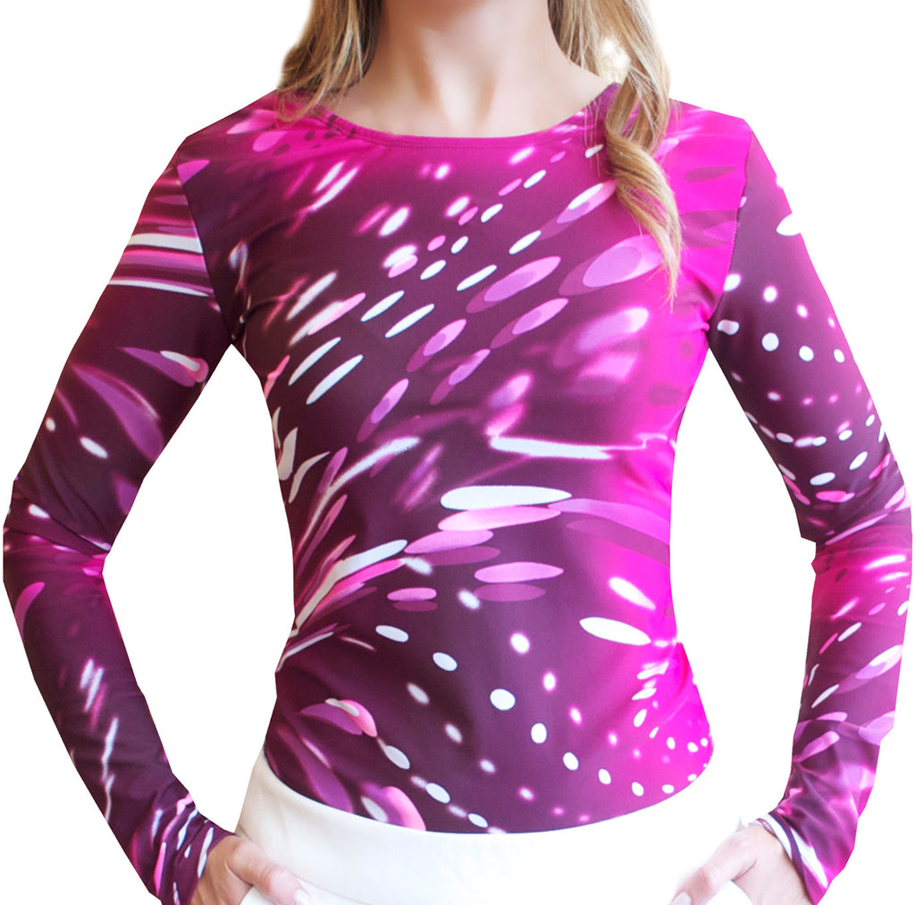 Pink Wave Long Sleeve Top