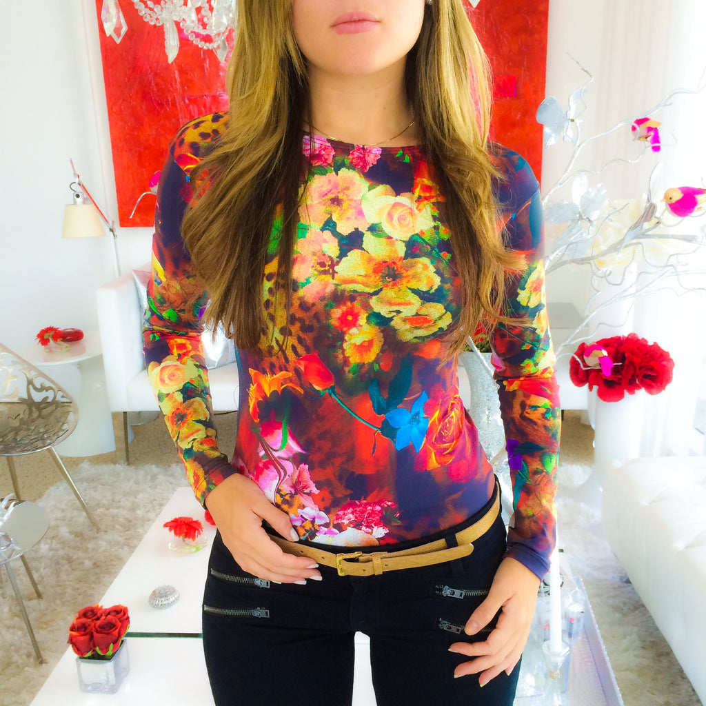 Floral Leopard Long Sleeve Top