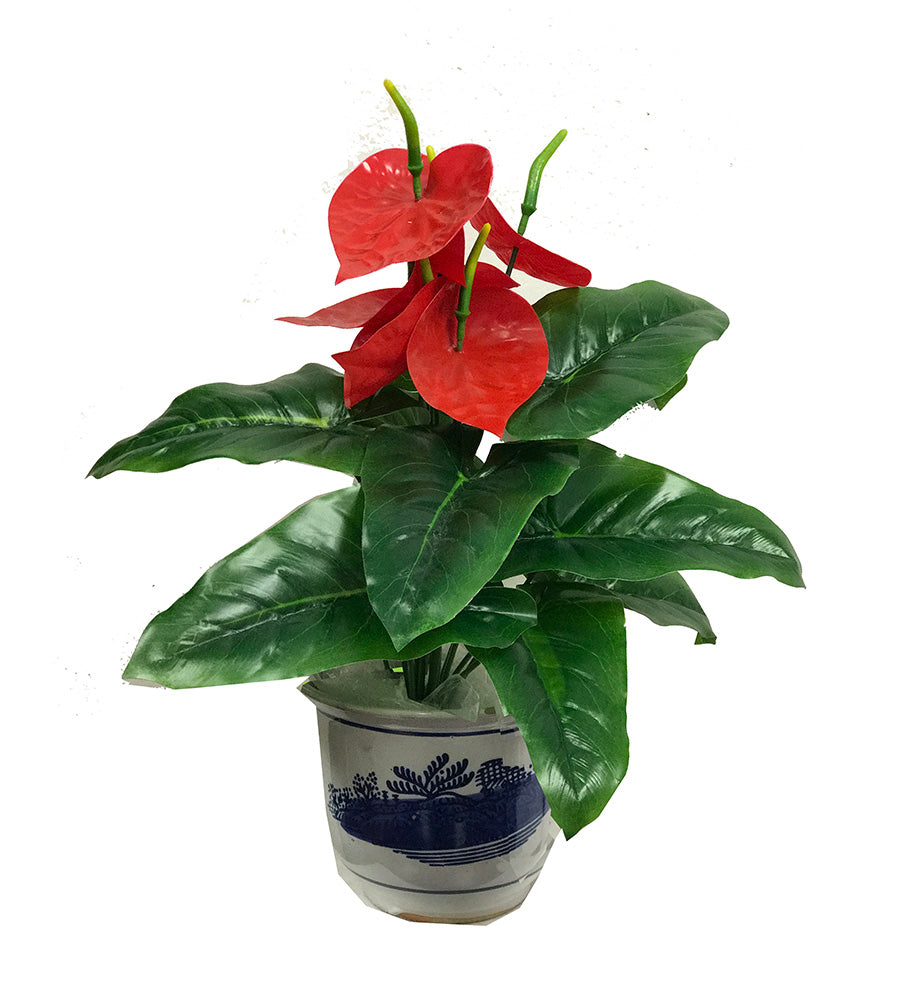 Artificial plant decor: fake fabric/plastic flamingo flower: faux plant for spa/clinic decoration:  / Anthurium, painter's palette HF095-2 - Acubest