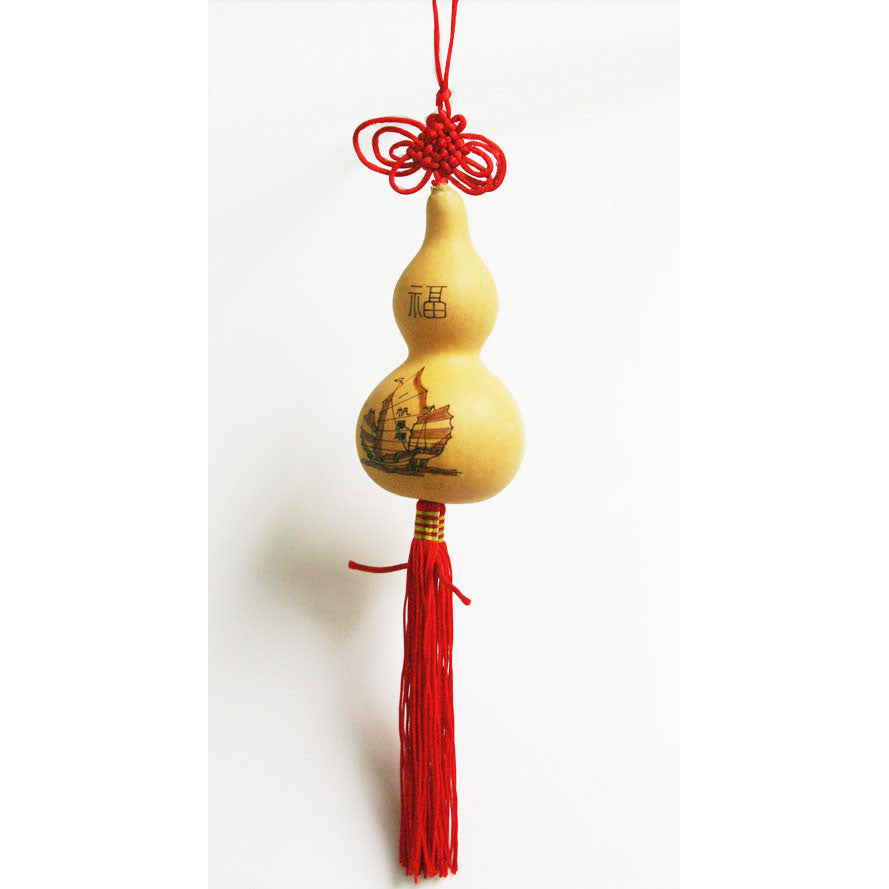 Natural Feng Shui Gourd Calabash Lucky Blessing Charm Decor / HF136A