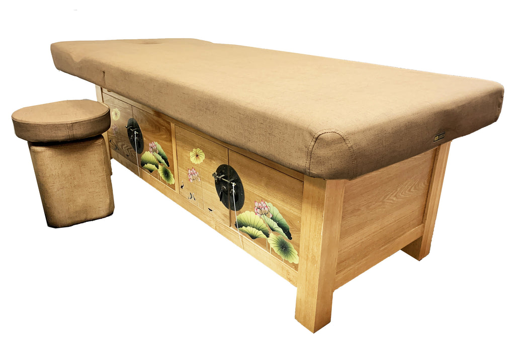 A&A Wooden Frame Massage Table with Storage Compartment / T-10C
