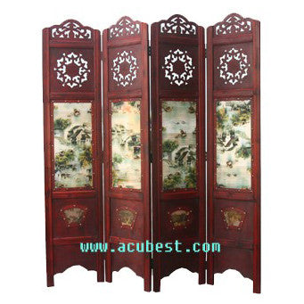 Wooden Framed Folding Screen Room Divider / T-04B1