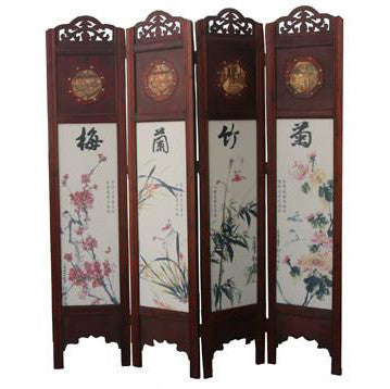 Wooden Frame Folding Screen Room Divider / T-04B3