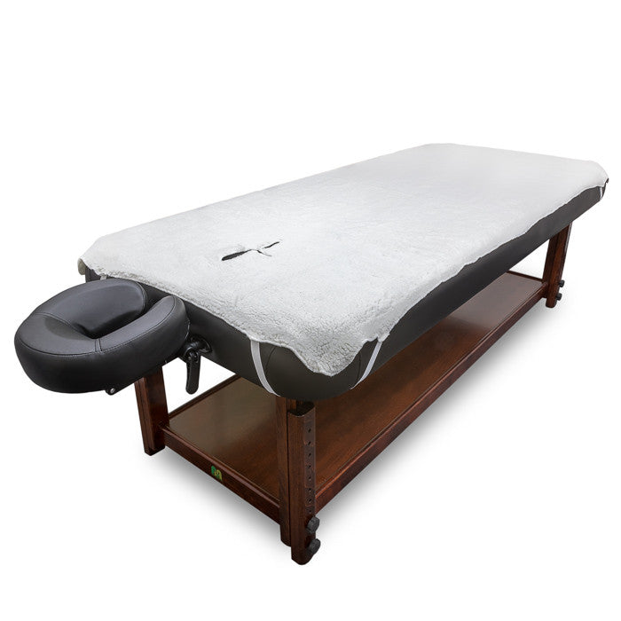 X-10B1 Fleece Massage Table Pad mounted on a table.