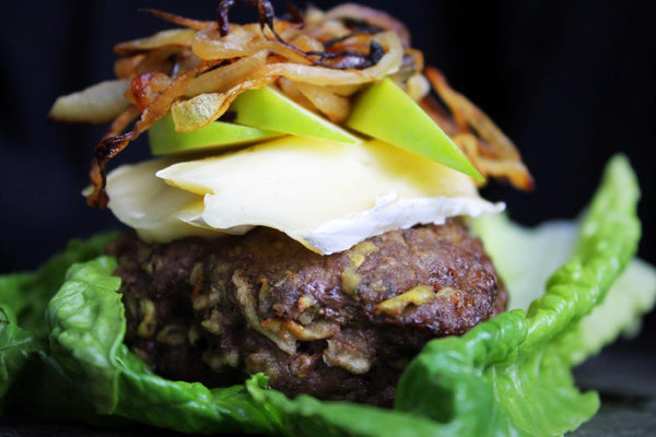 Grass-fed Beef Burgers w Caramelized Onion & Brie
