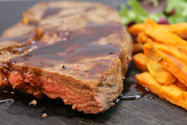 Balsamic Steak with Sweet Potato Fries
