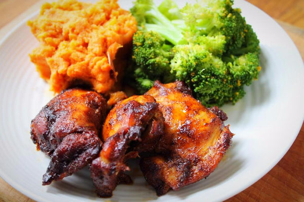Honey Garlic Chicken with Sweet Potato Mash