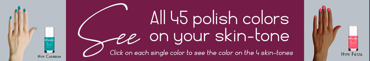 45 colors of Hype polish on 4 skin shades