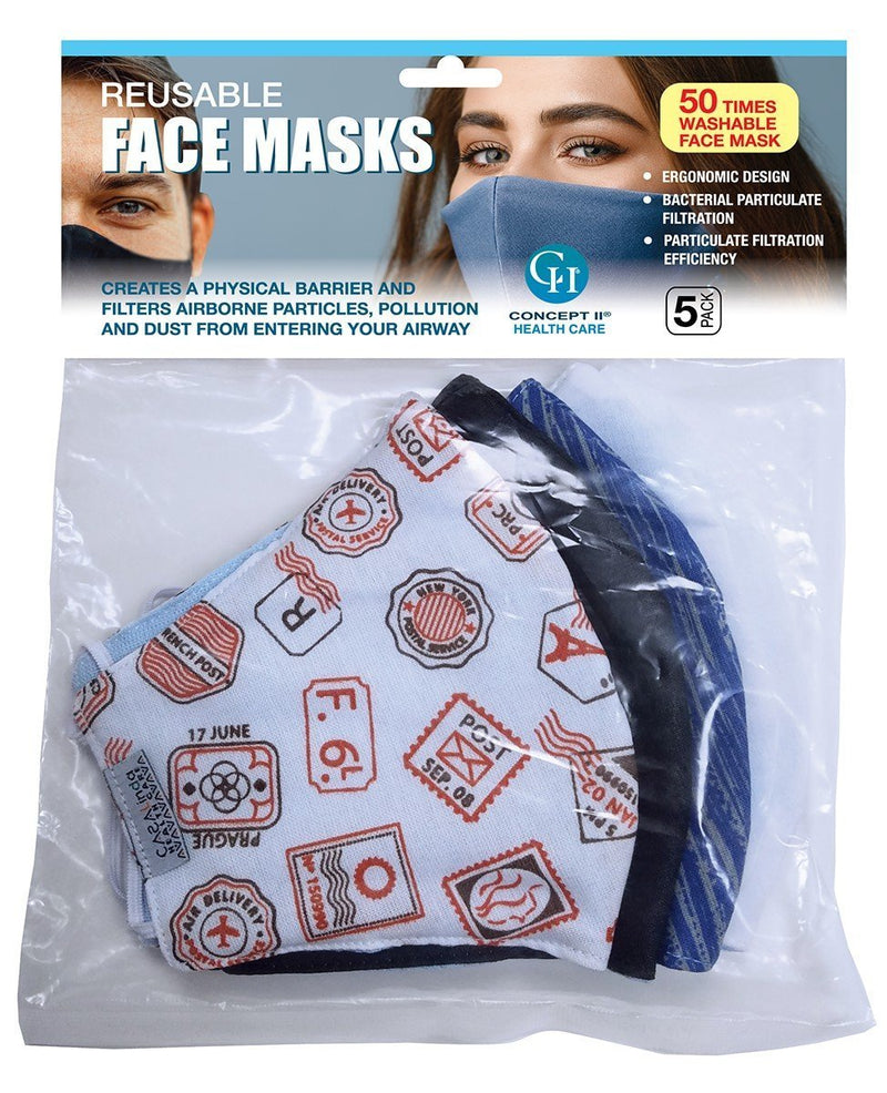 Face Masks - Pack of 5 - Many Varieties - Washable and 100% Cotton - *Hype Nail Polish