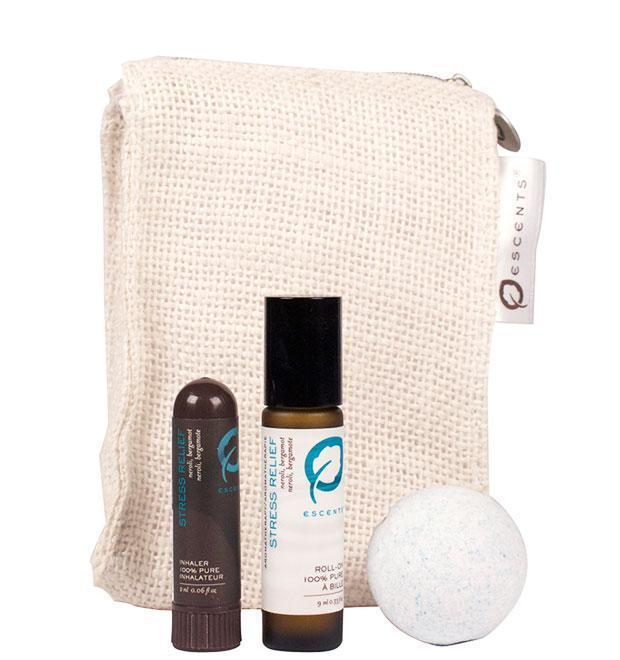 Stress Relief Roll On/Inhaler/Bath Bomb Bundle - Escents Aromatherapy Canada