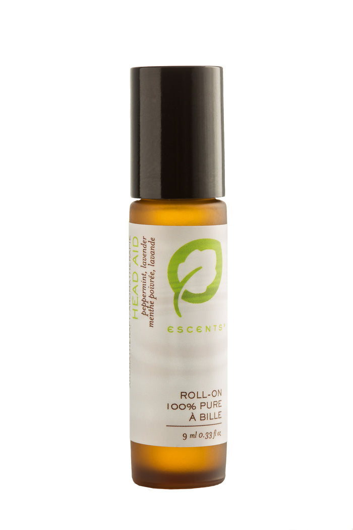 Roll-On Head Aid 9 ml. / .33 fl. oz. - Escents Aromatherapy Canada