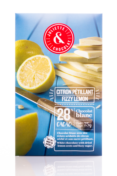 The white chocolate bar with fizzy lemon