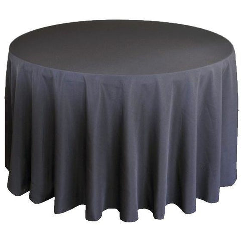 "132"" Round Charcoal Classic Solid Polyester"