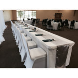 "90""x 156"" Solid White Polyester Banquet Tablecloth"