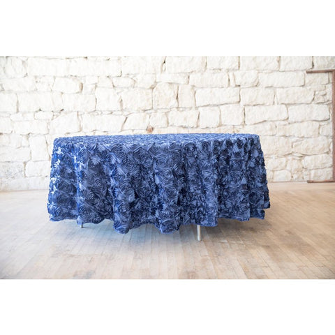 "120"" Round Royal Blue Rose Embroidery Tablecloth"