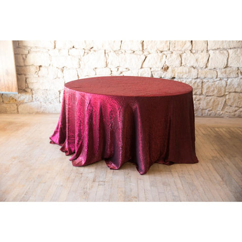 "120"" Round Iridescent Crush Burgundy/Black shown on 5ft round table."