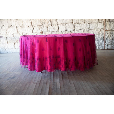 "120"" Round Hot Pink Sheer Petal Overlay"