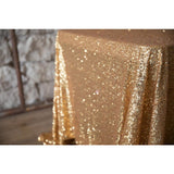 "90""x 156"" Yellow Gold Sequin Banquet Tablecloth"