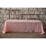 "90""x 156"" Blush Embroidered Rose"