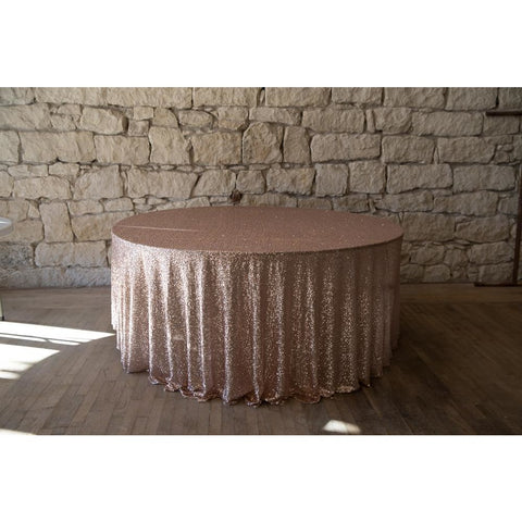 "132"" Round Rose Gold Sequin Tablecloth"