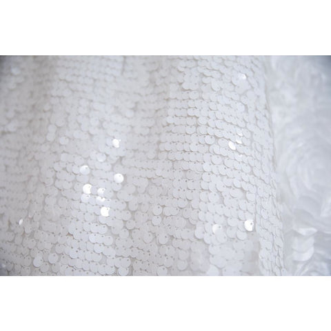 "90""x 90"" White Sequin Overlay"