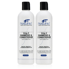 FRAGFRE 2 in 1 Shampoo and Conditioner 12 oz (2-Pack Gift Set) -  Vegan Gluten Free Cruelty Free - Hypoallergenic Sulfate Free Shampoo for Short Hairs