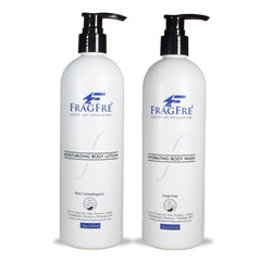 FRAGFRE Body Wash and Lotion Set - Fragrance Free Hypoallergenic Sulfate Free Parabens Free Set 2/Pack 16 oz ea - with Natural Cucumber, Argan Oil & Non Nano Zinc Oxide - Gluten Free Vegan - FRAGFRE®