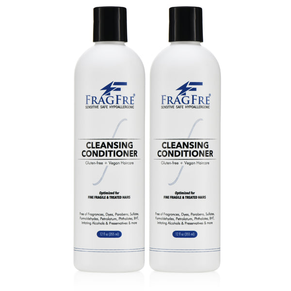 FRAGFRE Cleansing Conditioner for Fine Fragile and Treated Hairs 12 oz (2-Pack Gift Set) - Mild Conditioning Shampoo for Sensitive Skin - Sulfate Free