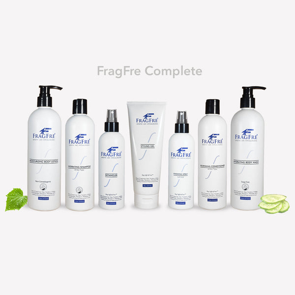 FRAGFRE Complete Skin Care Set for Sensitive Skin - Shampoo-Conditioner-BodyWash-BodyLotion-Detangler-Styling Gel-Finishing Spray - Sulfate Free Vegan