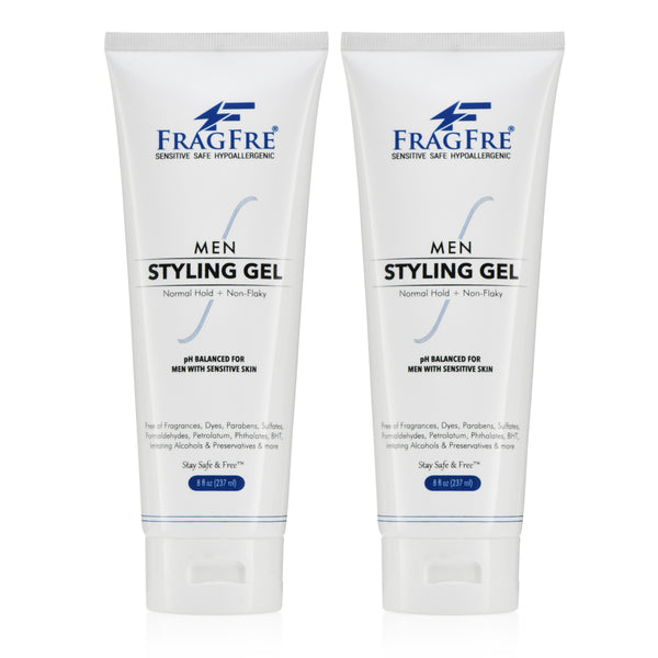 FRAGFRE Men Hair Styling Gel Fragrance Free 8 oz (2-Pack Gift Set) - pH Balanced for Men with Sensitive Skins - Normal Hold for Normal Hair Styles