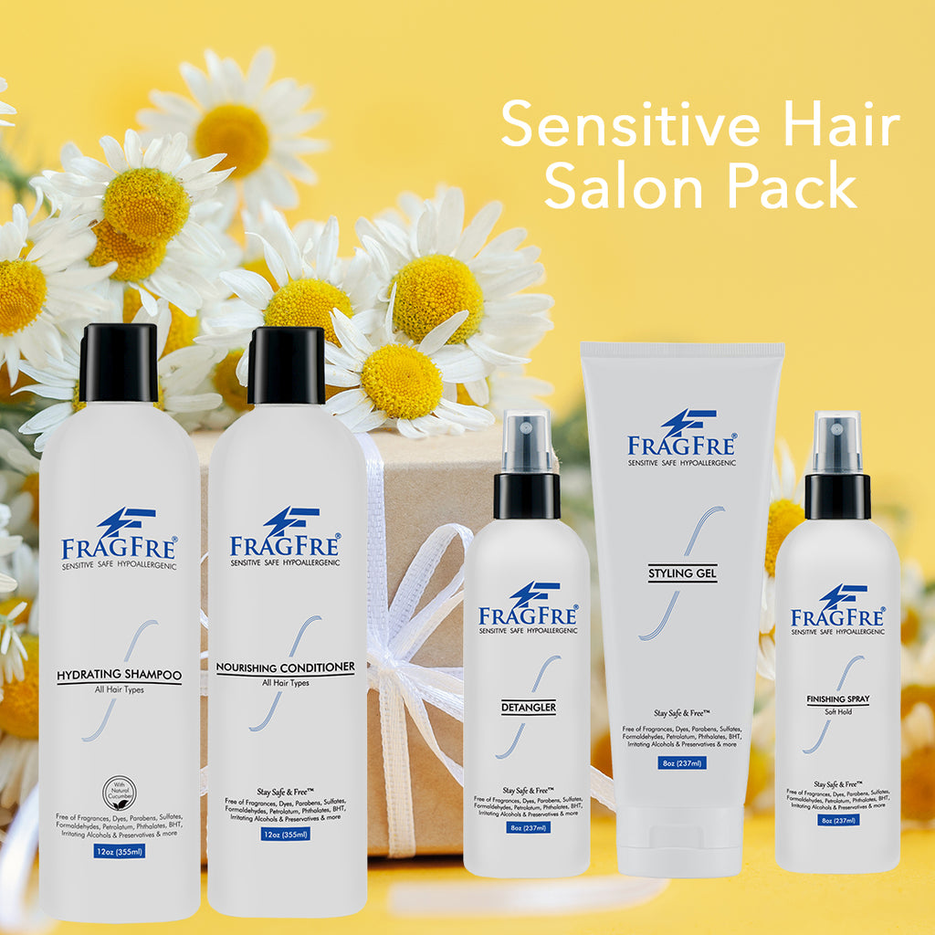 FRAGFRE Professional Hair Salon Set for Sensitive Skin 8/12 oz/ea (5-Pack Gift Set) - Shampoo-Conditioner-Hair Detangler-Styling Gel-Finishing Spray