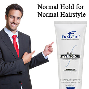 FRAGFRE Men Hair Styling Gel Fragrance Free 8 oz - pH Balanced for Sensitive Skins - Not Too Firm or Too Light - Normal Hold for Normal Hair Styles