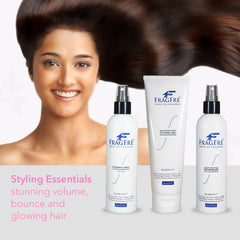 FRAGFRE Sensitive Hair Styling Set of 3 (8 oz ea) - Detangler, Styling Gel and Finishing Spray