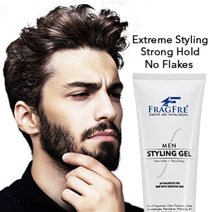 FRAGFRE Hair Gel for Men Firm Hold 8 oz - Men's Styling Gel for Extreme Hair Styles - Paraben Free Fragrance Free Hypoallergenic - Vegan Gluten Free