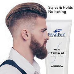 FRAGFRE Hair Gel for Men Firm Hold 8 oz (2-Pack Gift Set) - Men's Styling Gel for Extreme Hair Styles - Paraben Free Fragrance Free Hypoallergenic