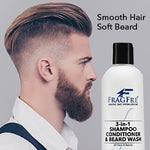 FRAGFRE 3 in 1 Shampoo Conditioner and Beard Wash for Men 12 oz - Unscented Beard Wash for Sensitive Skin -Hair and Beard Cleansing and Conditioning