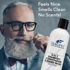 FRAGFRE 3 in 1 Shampoo Conditioner and Beard Wash for Men 12 oz (2-Pack Gift Set) - Unscented Beard Wash for Sensitive Skin -Saves You Time and Money