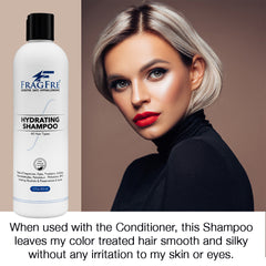 FRAGFRE Shampoo Conditioner Set for Sensitive Skin 2/Pack 12 oz ea - Fragrance Free Hypoallergenic Sulfate Free - Vegan Color Safe - Natural Cucumber