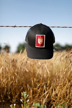 LIMITED EDITION V+B LTD BLACK TRUCKER, RED PATCH, WHITE BORDER