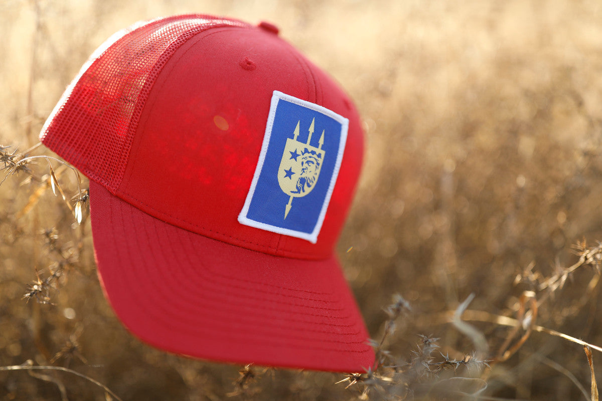LIMITED EDITION V+B LTD RED TRUCKER, BLUE PATCH, WHITE BORDER