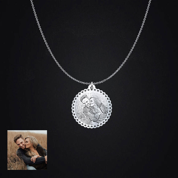 Personalized Happy Couple Photo Pendant Necklace - B - Design Forms Of Art