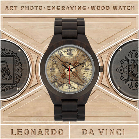 Leonardo Da Vinci • Vitruvian Man Glider - F • Photo Engraved Wood Watch - Design Forms Of Art