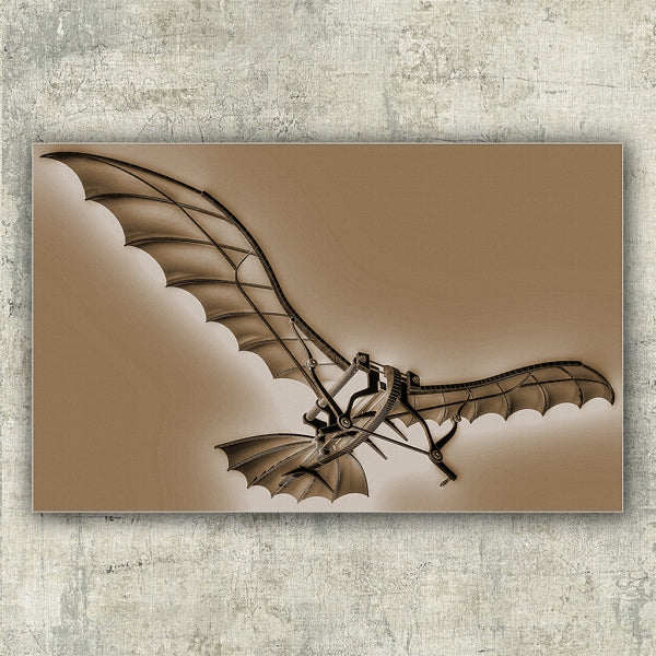 Leonardo Da Vinci Flying Machine Old Photo Sepia - Illustration