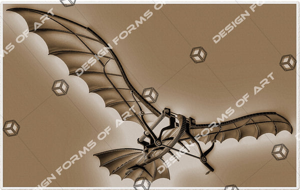 Leonardo Da Vinci Flying Machine Old Photo Sepia - Illustration - Design Forms Of Art