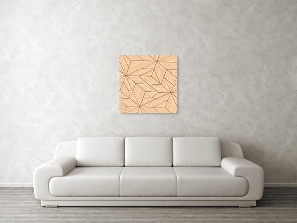Wooden Striped Textured Of Tangram Parquet - Art Print