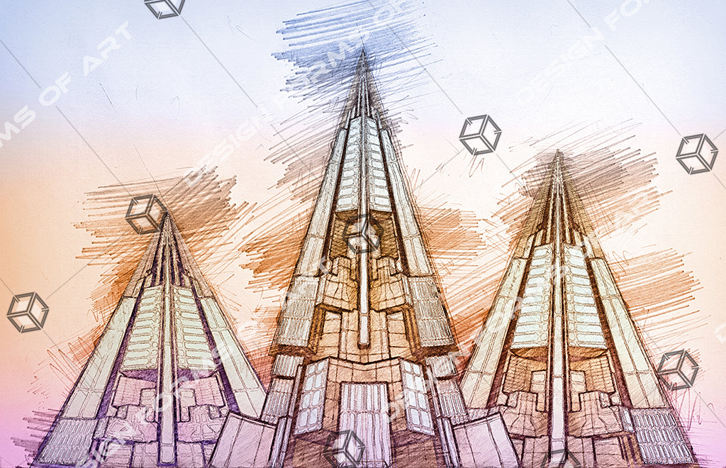 Futuristic Skyscrapers Pyramids - Pencil Drawing - Illustration - Design Forms Of Art