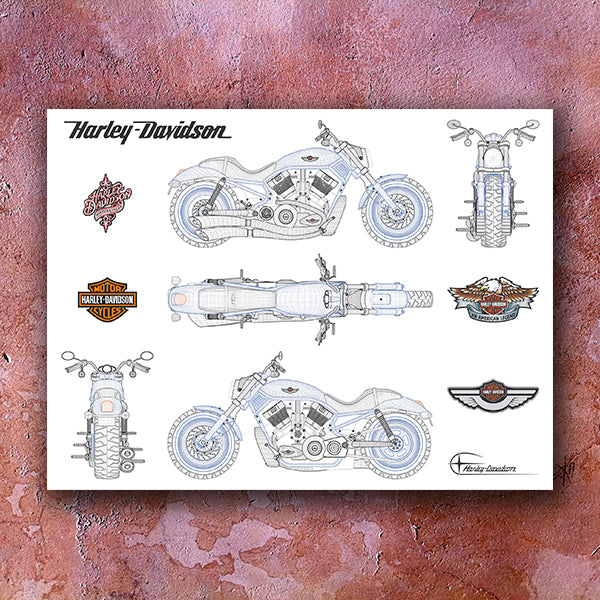 Harley - Davidson  POSTER - Illustration - Design Forms Of Art