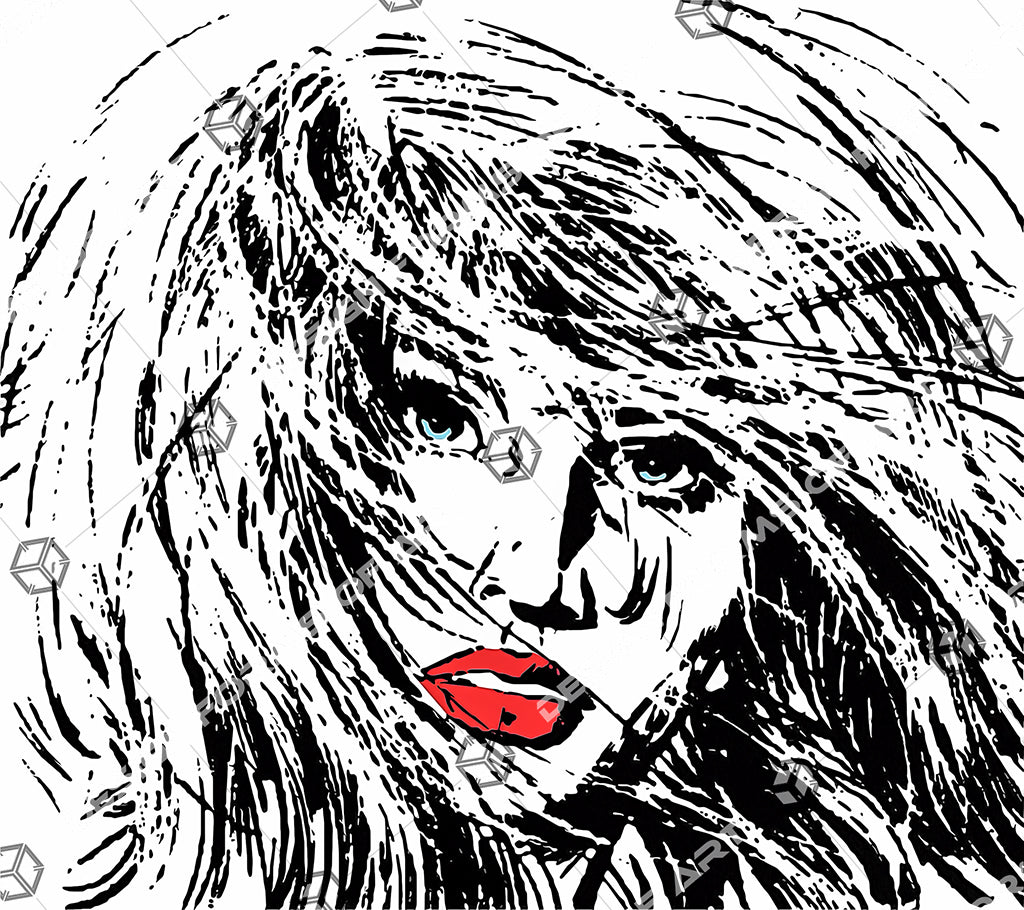 Beautiful Woman's Face With Breezy Hair - Illustration - Design Forms Of Art
