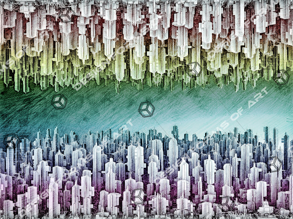 Reversible Futuristic City Of Skyscrapers Pencil Sketch - Illustration - Design Forms Of Art