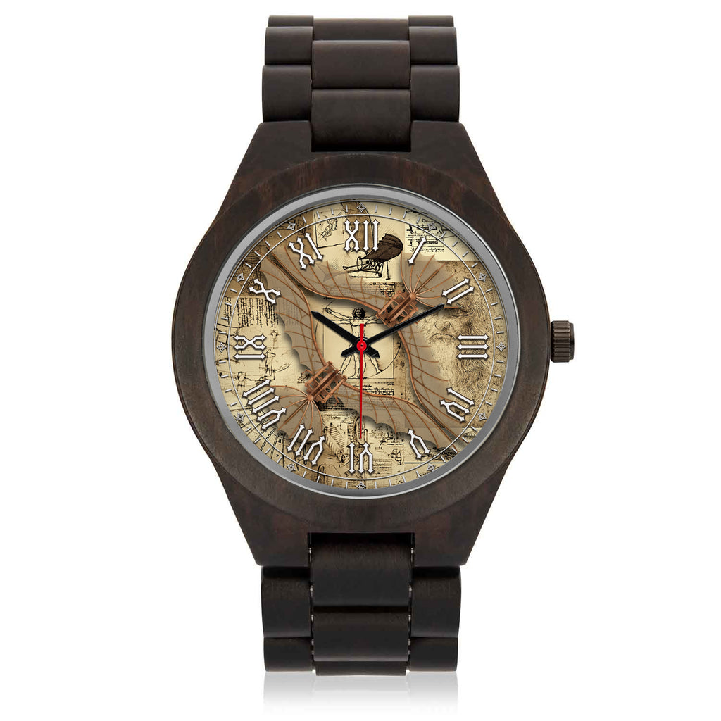 Leonardo Da Vinci • Vitruvian Man Glider - C • Photo Engraved Wood Watch - Design Forms Of Art